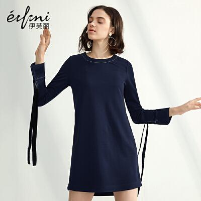 2件4折 伊芙丽春装新款女个性系带长袖连衣裙圆领直筒裙子中长裙