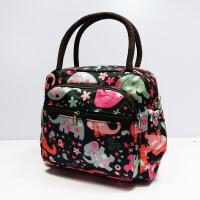女式包包新款时尚上班手提包女小包迷你饭盒袋手拿帆布布包小方包 明黄色 黑底小花象