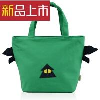 布艺包帆布小包便当包饭盒袋学生带饭包手提袋饭盒包妈咪手拎包 绿色 拉链15-02