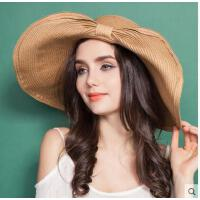 沙滩帽大沿遮阳帽 太阳帽女士夏天时尚草帽可折叠海边旅游卷边韩版