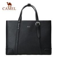 Camel/骆驼男包男士手提包韩版休闲牛皮托特包横款公文男包包