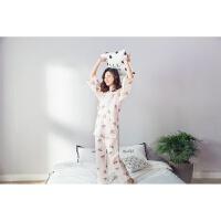 女士纯棉睡衣春夏秋双层纱布短袖长裤可爱日系和服家居服套装