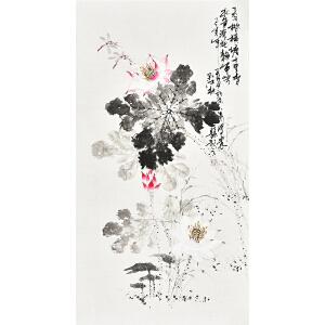 中国书画家协会会员 孔江林三尺整张花鸟画gh04480