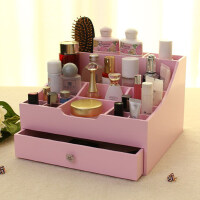 欧式创意桌面大容量化妆品收纳盒 韩式化妆盒抽屉式 木质梳妆盒大号