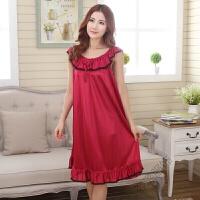 睡衣女士性感睡裙加大码夏季吊带长裙200斤冰丝长款短袖夏天睡裙 酒红色 839