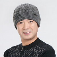 冬季纯色男士帽子秋冬中老年男保暖老人爸爸毛线针织帽