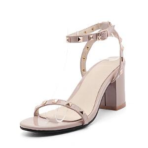 O'SHELL欧希尔夏季上新007-77-2欧美粗跟高跟女士凉鞋