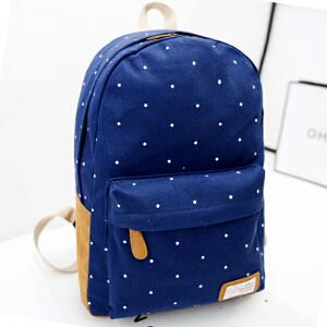 货到付款 颖贝尔 潮流韩版波点书包大容量休闲中学生校园学院风男旅行包女背包双肩包