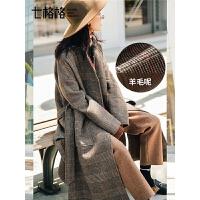 赫本风毛呢外套女中长款韩版秋冬季新款流行格子过膝呢子大衣