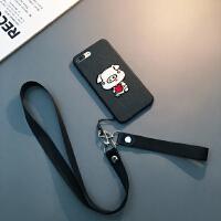 卡通刺绣小猪苹果X手机壳挂绳保护套XS Max新款6S女 6/6s 4.7寸(黑色)