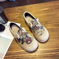 20190923012059932新款女学生涂鸦板鞋民族风手工编织布鞋泰国亚麻圆头学院风帆布鞋