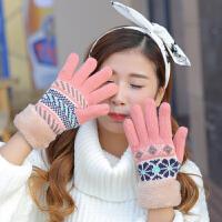冬天毛线手套女 秋冬季加绒骑车可爱毛线针织五指手套