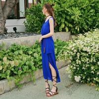 夏季长裙蓝色连衣裙开叉沙滩裙雪纺海边度假背心裙两件套 蓝色