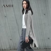 AMII[极简主义]冬新品落肩袖绞花提花开衫毛衣外套女11673741