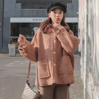 chic羊羔毛外套女短款冬季2018新款韩版宽松百搭时尚加厚棉衣