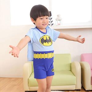【支持礼品卡】Yinbeler泳衣+泳帽】婴儿连体泳衣超人蝙蝠侠带披风温泉海边