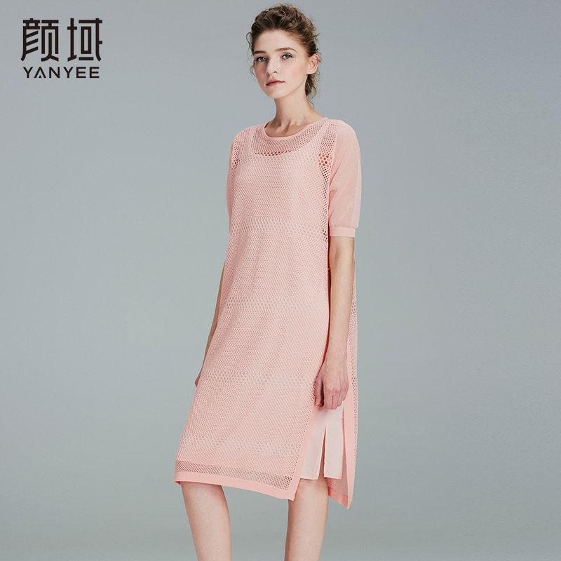 颜域品牌女装2017夏季新款优雅气质H型针织提花镂空两件套连衣裙镂空花型 针织面料