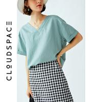 云上生活 浅水绿V领衬衣女2019新款短袖衬衫女设计感小众上衣C3963