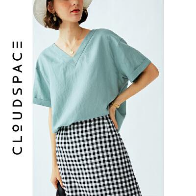 【限时抢购】云上生活 浅水绿V领衬衣女2019新款短袖衬衫女设计感小众上衣C3963