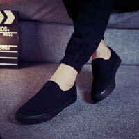 老北京布鞋男一脚蹬大码男鞋纯黑色懒人鞋透气不系带全黑帆布鞋男