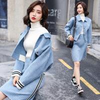 秋冬小香风毛呢套装裙子2018秋季新款女装韩版时尚女神短裙两件套