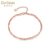 德诚珠宝 18K金玫瑰金手链环环相扣正品新款K金链子饰品