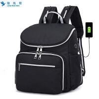 女背包双肩包时尚妈妈女包大容量USB妈咪包多功能奶瓶母婴包尿布包婴儿车背包