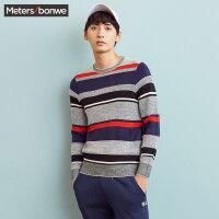 美特斯邦威毛衣男士秋冬装复古撞色针织打底衫线衫青少年韩版潮