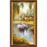 纯手绘欧式玄关油画竖版天鹅湖装饰画走廊过道餐厅挂画竖副壁画 带框尺寸110*220cm 单幅