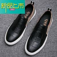 新品上市鞋男一脚蹬韩版青年潮流运动休闲鞋子内增高英伦百搭懒人男鞋