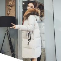 中长款棉衣女2018冬季新款韩版显瘦加厚保暖连帽羽绒面包服 米白色 S