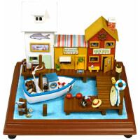 智趣屋diy小屋冒险万里号海贼港湾手工拼装房子模型创意礼物玩具