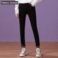 美特斯邦威牛仔裤女2017秋季新款黑色紧身小脚裤246957商场同款