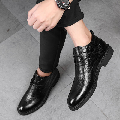 马丁靴男英伦风商务休闲高帮男鞋黑色头层牛皮男士潮皮靴 黑色 精挑细选