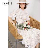【2件3折312元,再叠90/70/30元礼券】Amii极简法式蕾丝连衣裙2021夏新款长款修身立领短袖女裙子