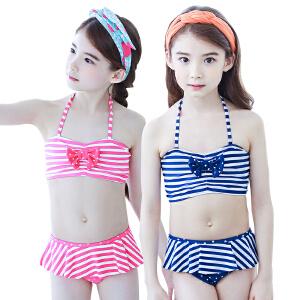 【泳衣建议对照体重拍大一点哦】KK树儿童泳衣女孩比基尼可爱大童女童分体游泳衣夏天防晒公主泳裙