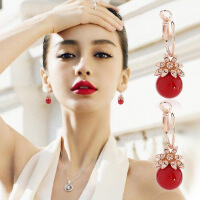 时尚长款珍珠吊坠耳坠甜美气质耳环女耳圈耳夹