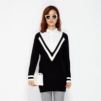 美特斯邦威冬装新款女仿两件式学院派套头毛衫228549