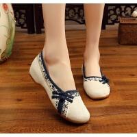 女士布鞋老北京女鞋素色茶艺布鞋牛筋底棉麻女单鞋旗袍鞋舞蹈鞋春