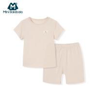 迷你巴拉巴拉男女宝宝婴儿短袖内着套装夏款彩棉纯棉婴儿薄款衣服