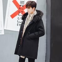 Y960-485男装冬季新款羽绒服保暖厚外衣学生连帽毛领中长款外套