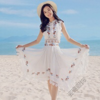 海边度假套装三亚旅游裙子女夏巴厘岛沙滩裙仙时尚泰国性感 白色