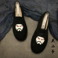 春秋西山花布鞋男士刺绣布鞋青年学生一脚蹬懒人社会鞋情侣休闲鞋 浅