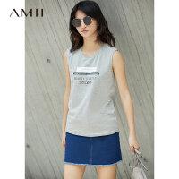 Amii[极简主义]2017夏新品显瘦无袖印花休闲背心 11761742
