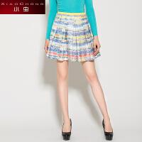 小虫春秋季新款欧美印花气质毛呢半身裙蓬蓬裙百褶小短裙潮