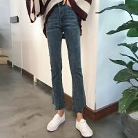 微喇叭裤女2018新款韩版裤子高腰不规则九分裤直筒牛仔裤春秋学生