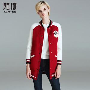 颜域品牌女装2017秋冬新款欧美时尚小立领单排扣羊毛大衣修身外套