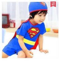 儿童超人泳衣宝宝游泳衣男童连体大码防紫外线泳装