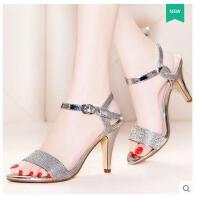 莫蕾蔻蕾新款夏季欧美露趾高跟凉鞋亮片真皮鱼嘴凉鞋女细跟一字扣女鞋15812-3ML