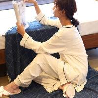 韩版薄款纯棉睡衣女春秋冬长袖全棉时尚简约家居服两件套装可外穿 均码(建议体重80-140斤)